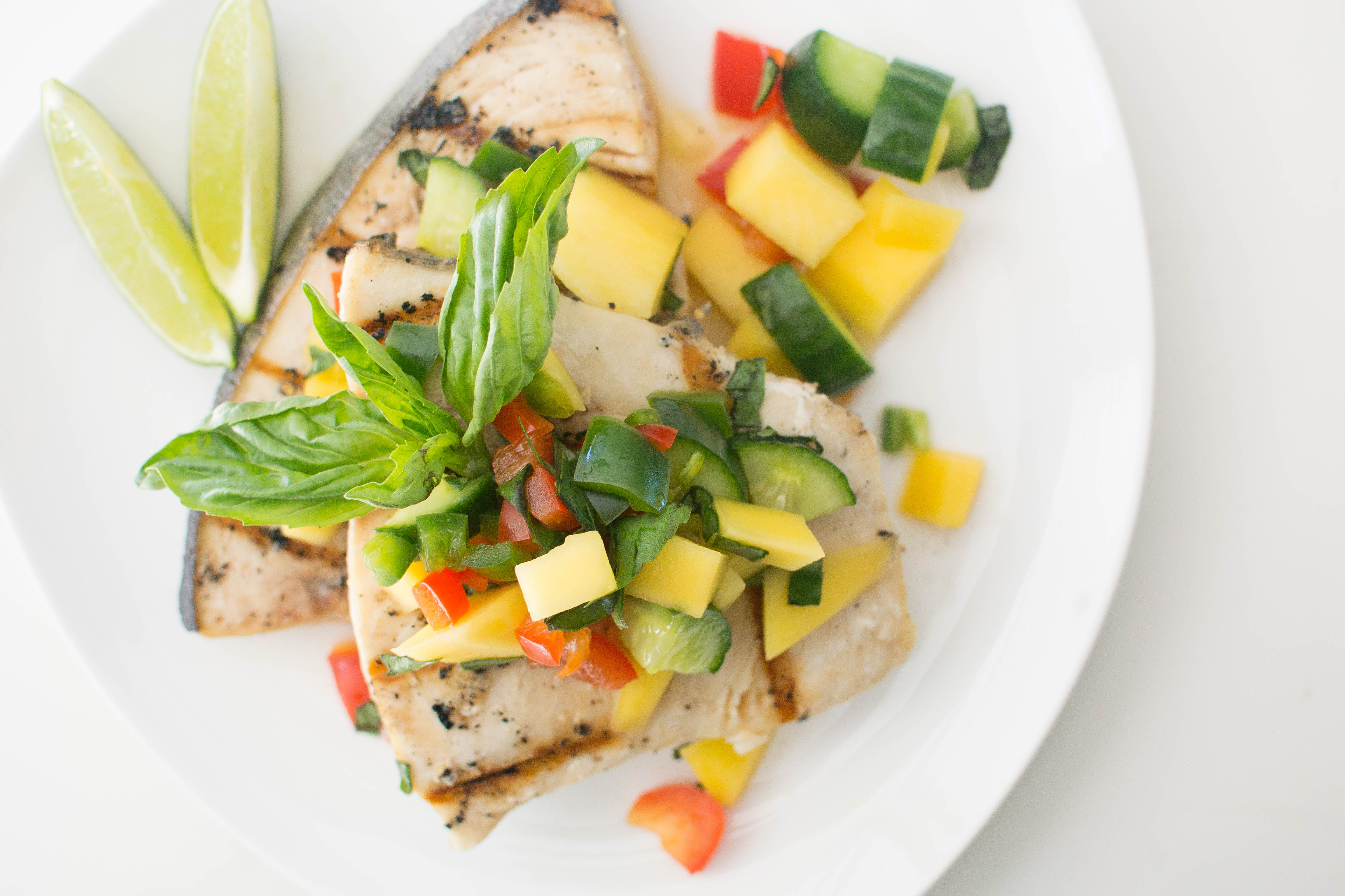 Grilled Swordfish With Cucumber-Melon Salsa Recipe — Dishmaps