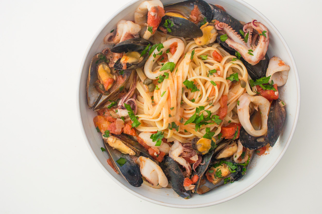 Seafood Pasta with Mussels and Calamari | Cook Smarts