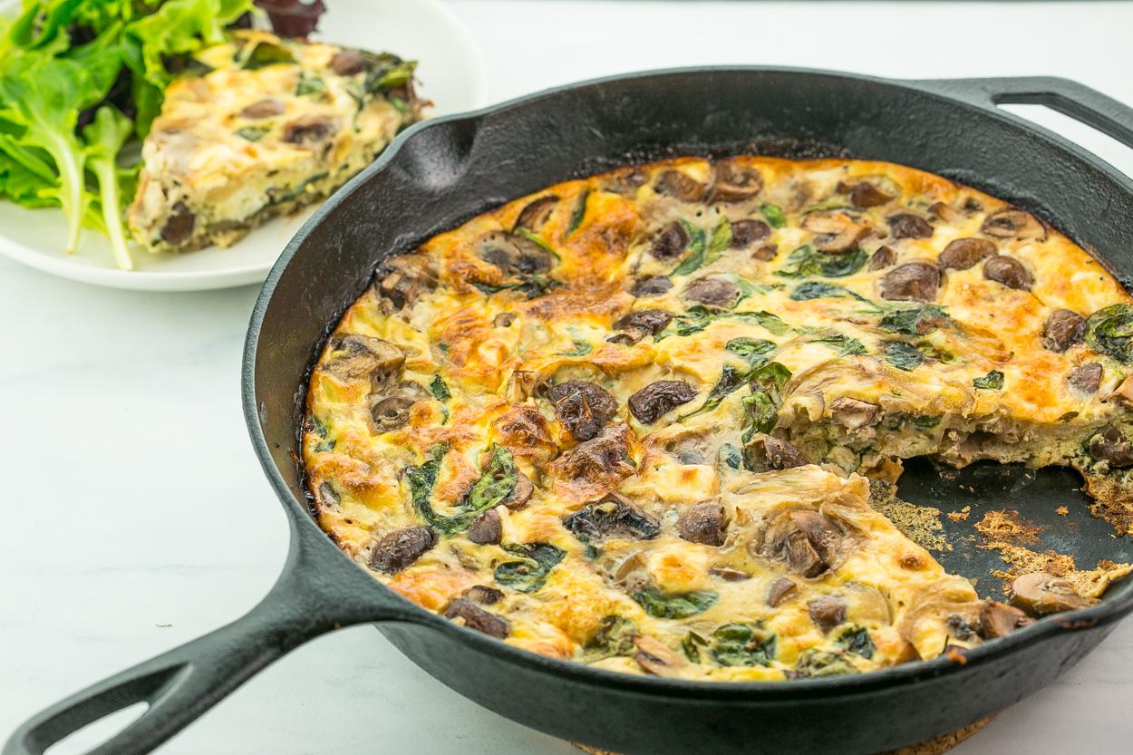Spinach, Mushroom, and Feta Frittata - Cook Smarts
