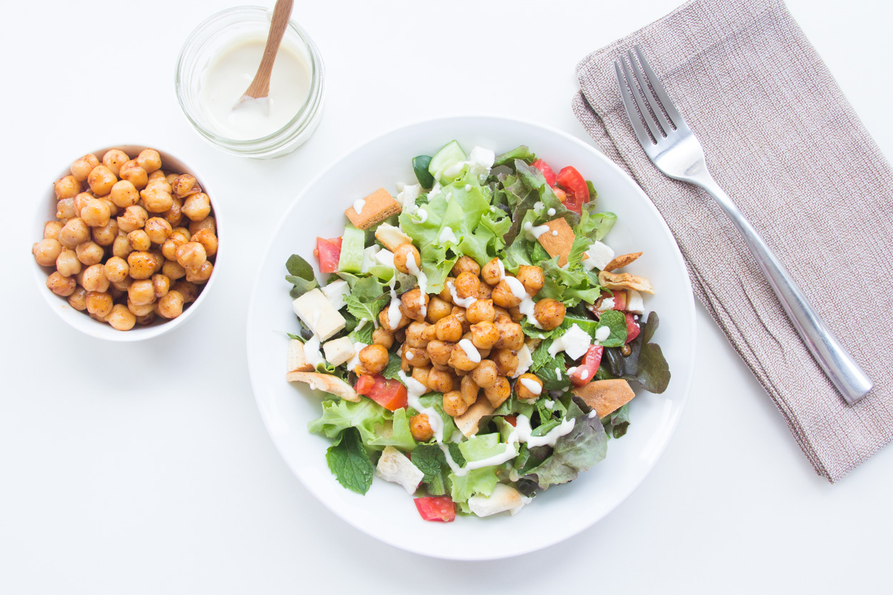 Fattoush with Pan-Fried Chickpeas - Cook Smarts
